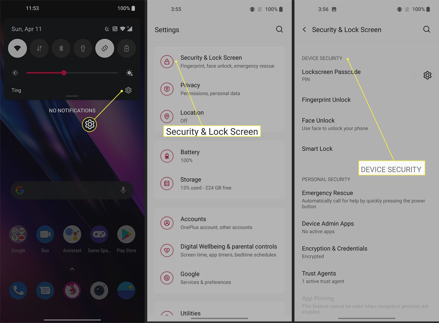 Options for unlocking a OnePlus 9 phone