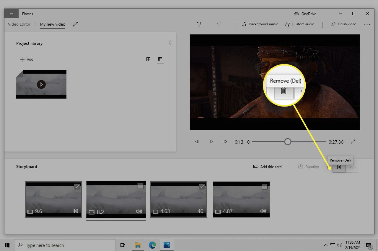 Video preview with clips listed in the Storyboard part of the Photos app