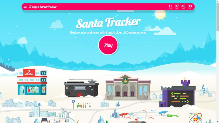 A screenshot of the Google Santa Tracker 2018.