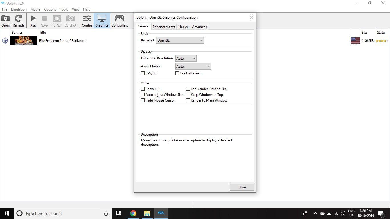 To customize display settings, select Graphics on the Dolphin Emulator main menu.