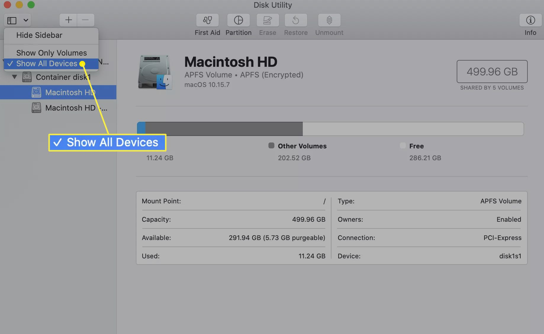 Disk Utility with Show All Devices selected