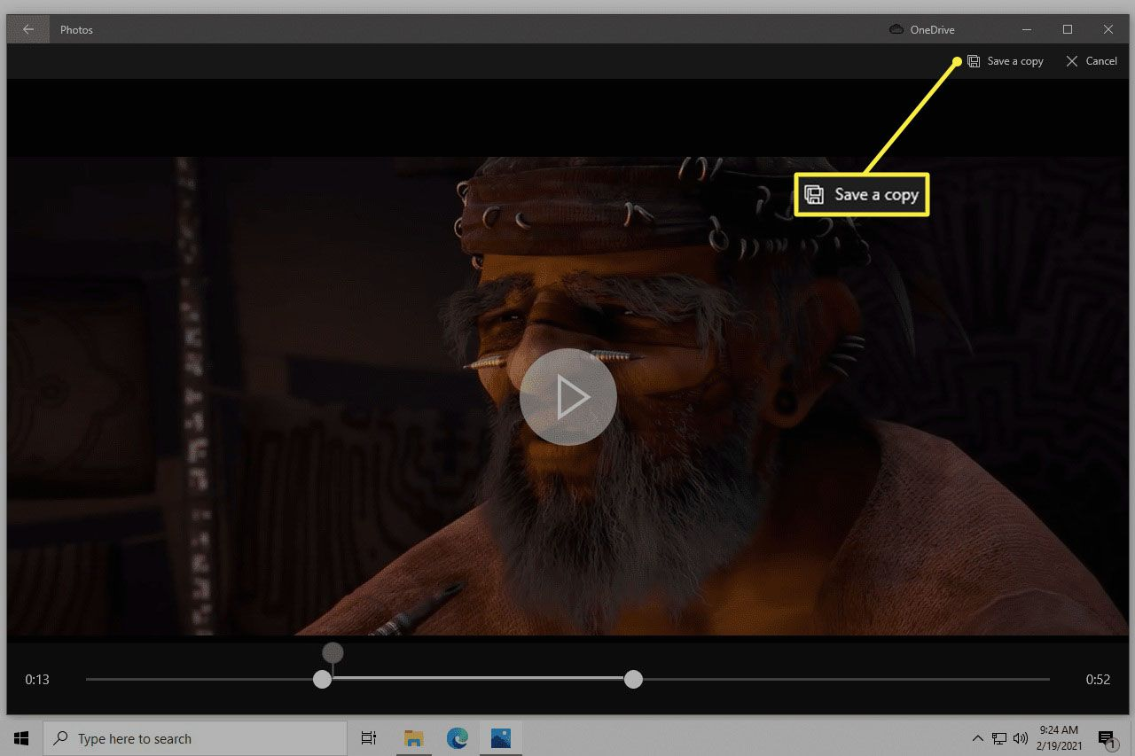 Trim buttons surrounding a clipped portion of a video in the Photos app