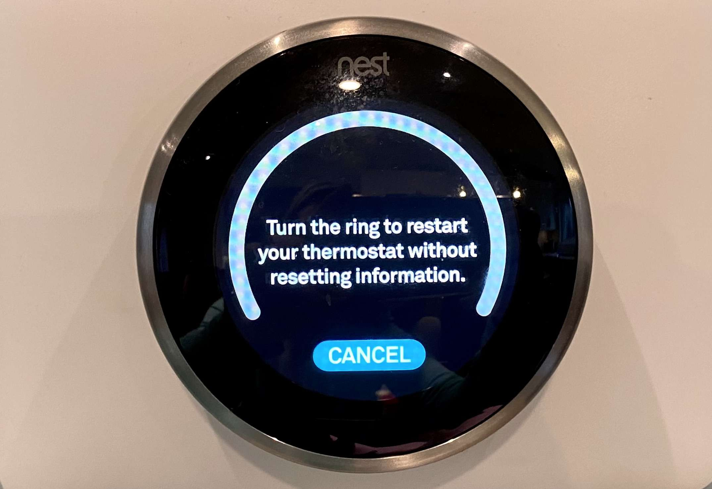 The menu on the Nest thermostat to restart it.
