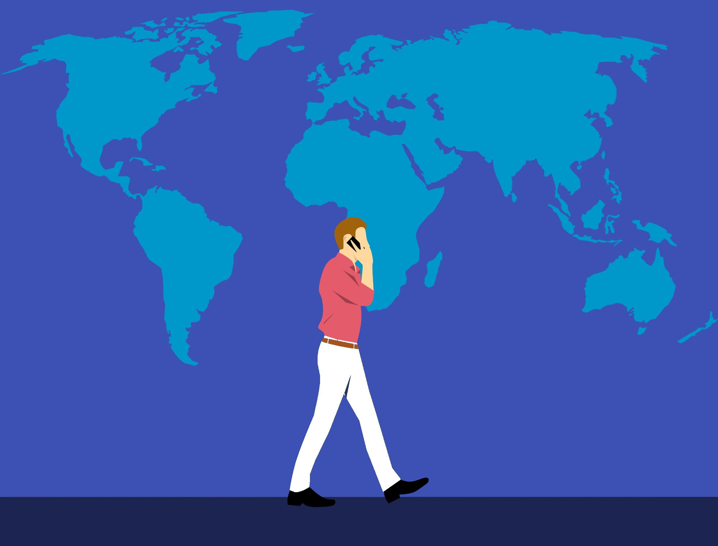 Illustration of man on mobile phone in front of world map