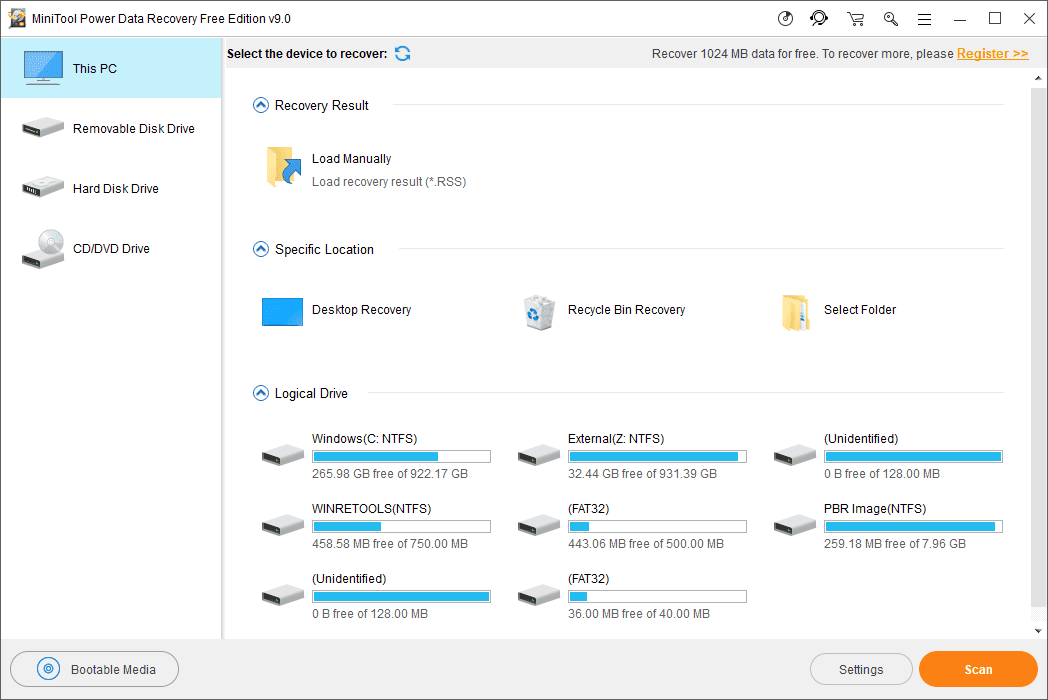 MiniTool Power Data Recovery Free Edition v9 in Windows 10