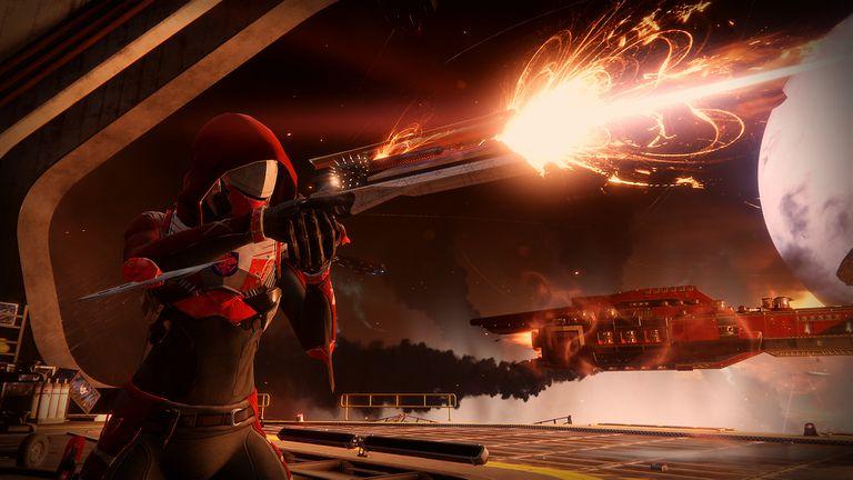 A screenshot from Destiny 2 of a Hunter firing a gun