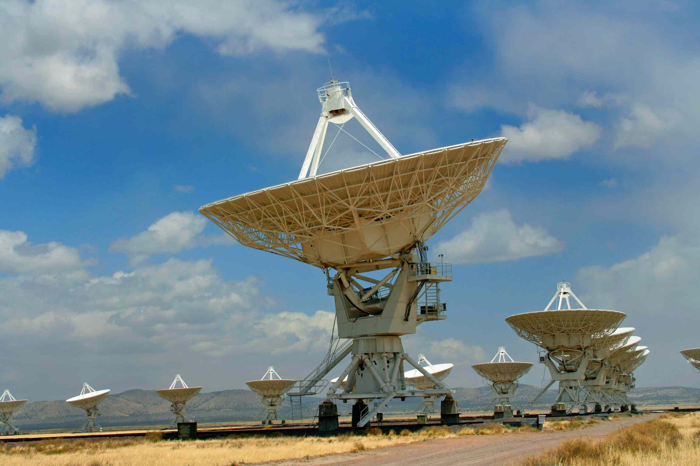 A radio telescope pointed towards the sky