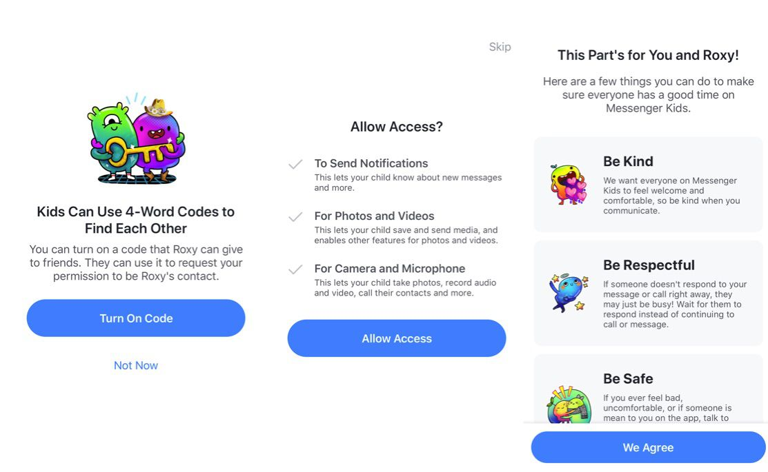 Messenger Kids account setup