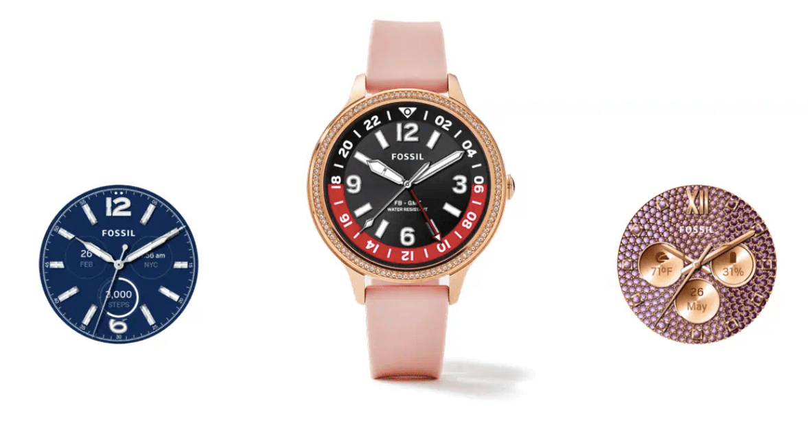 The Fossil Gen 5E with rose gold strap and flanked by two watch faces