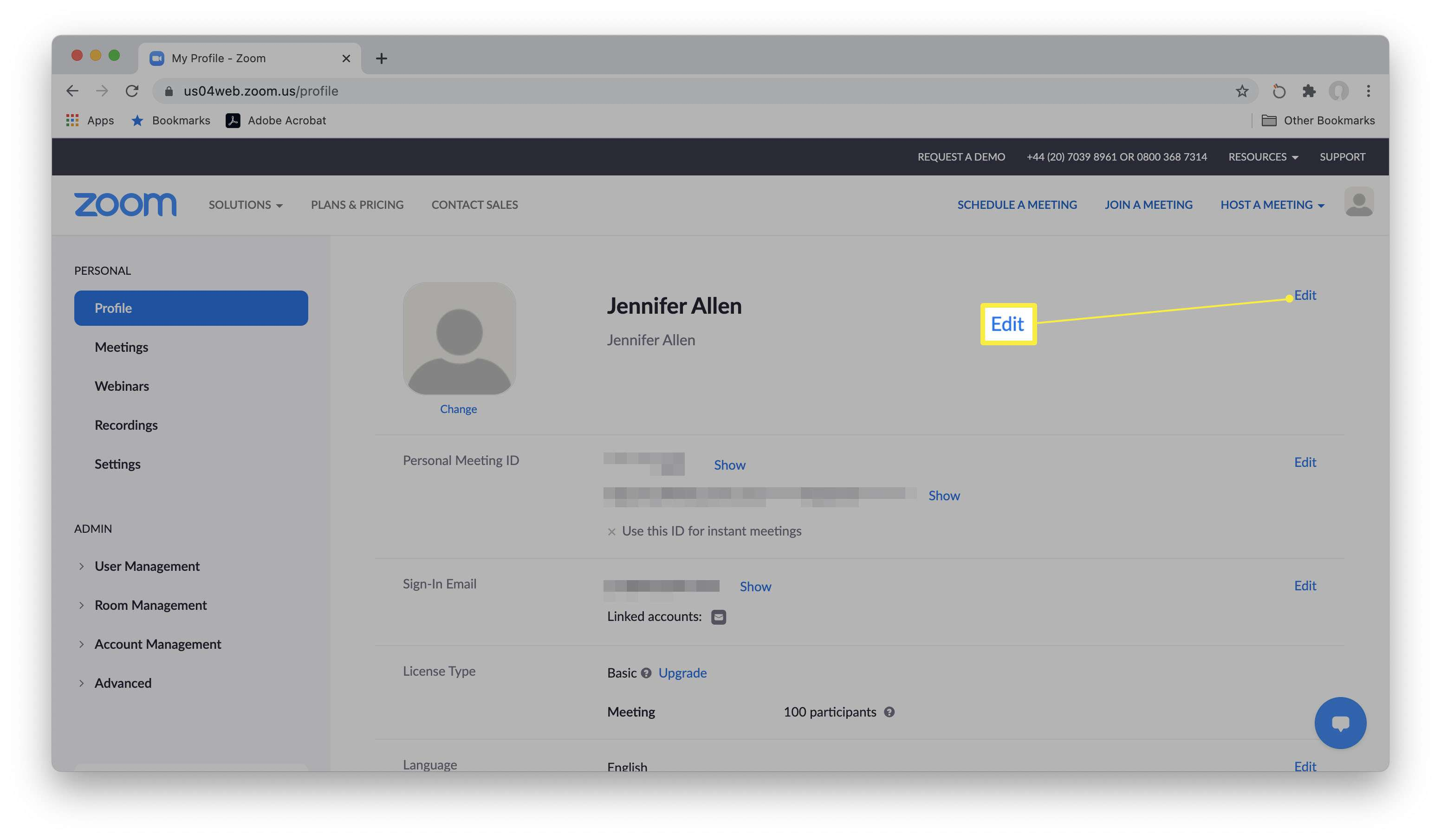 Zoom website with edit display name highlighted within profile