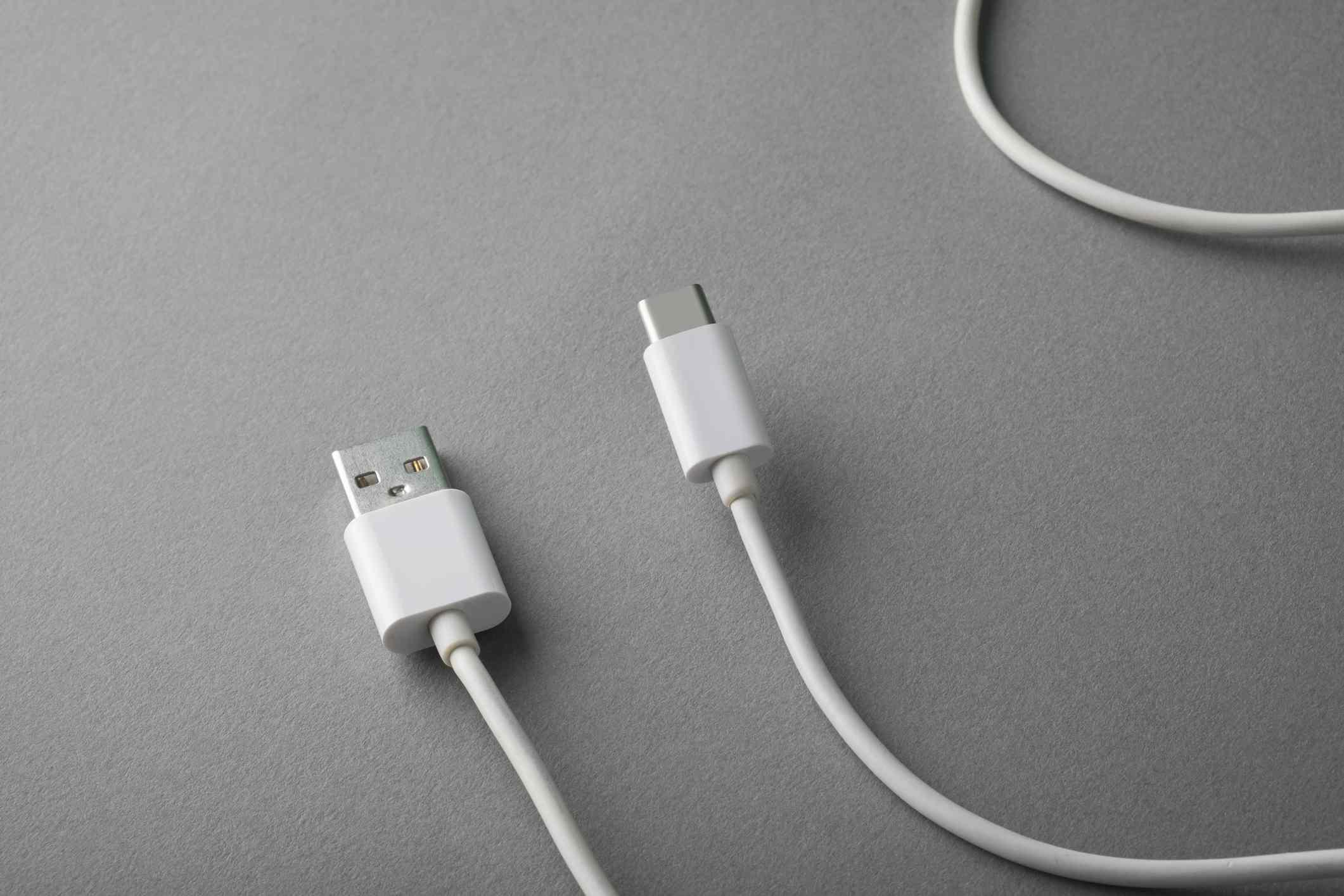 Closeup of a USB-C charging cable.
