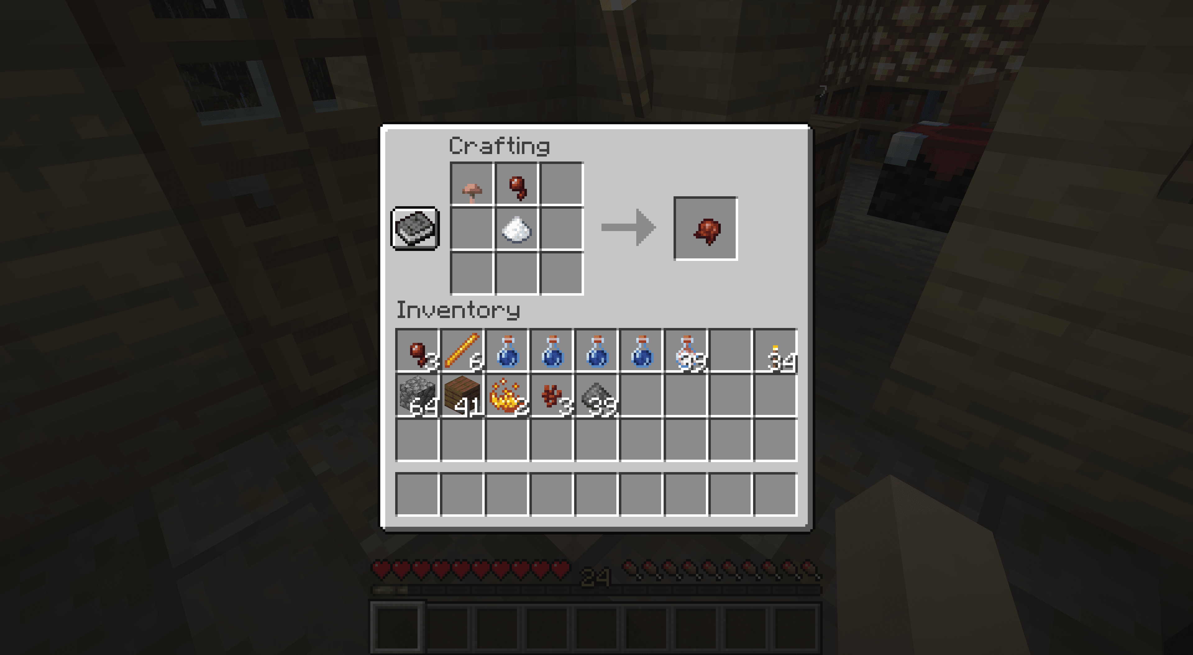 Crafting a fermented spider eye in Minecraft.