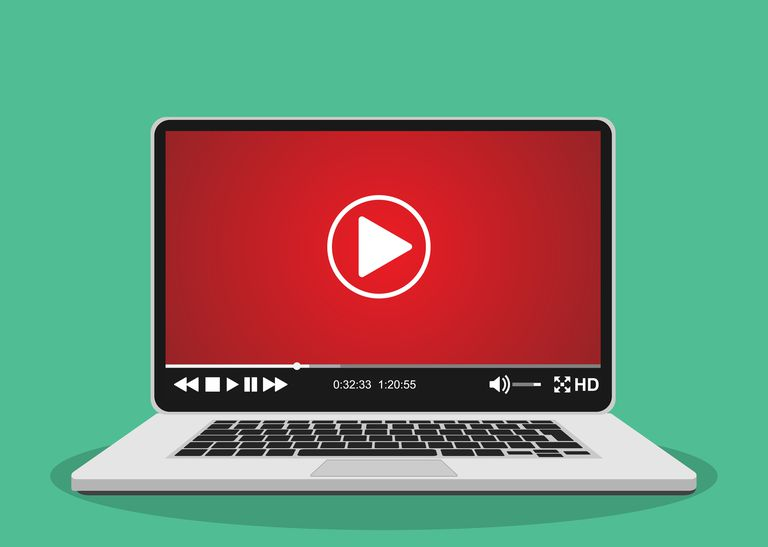 An image graphic of a video player on a laptop.