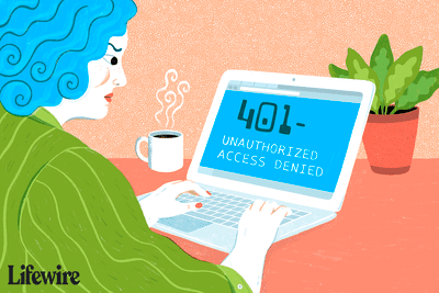 Illustration of a frustrated person getting a 401 error on a laptop