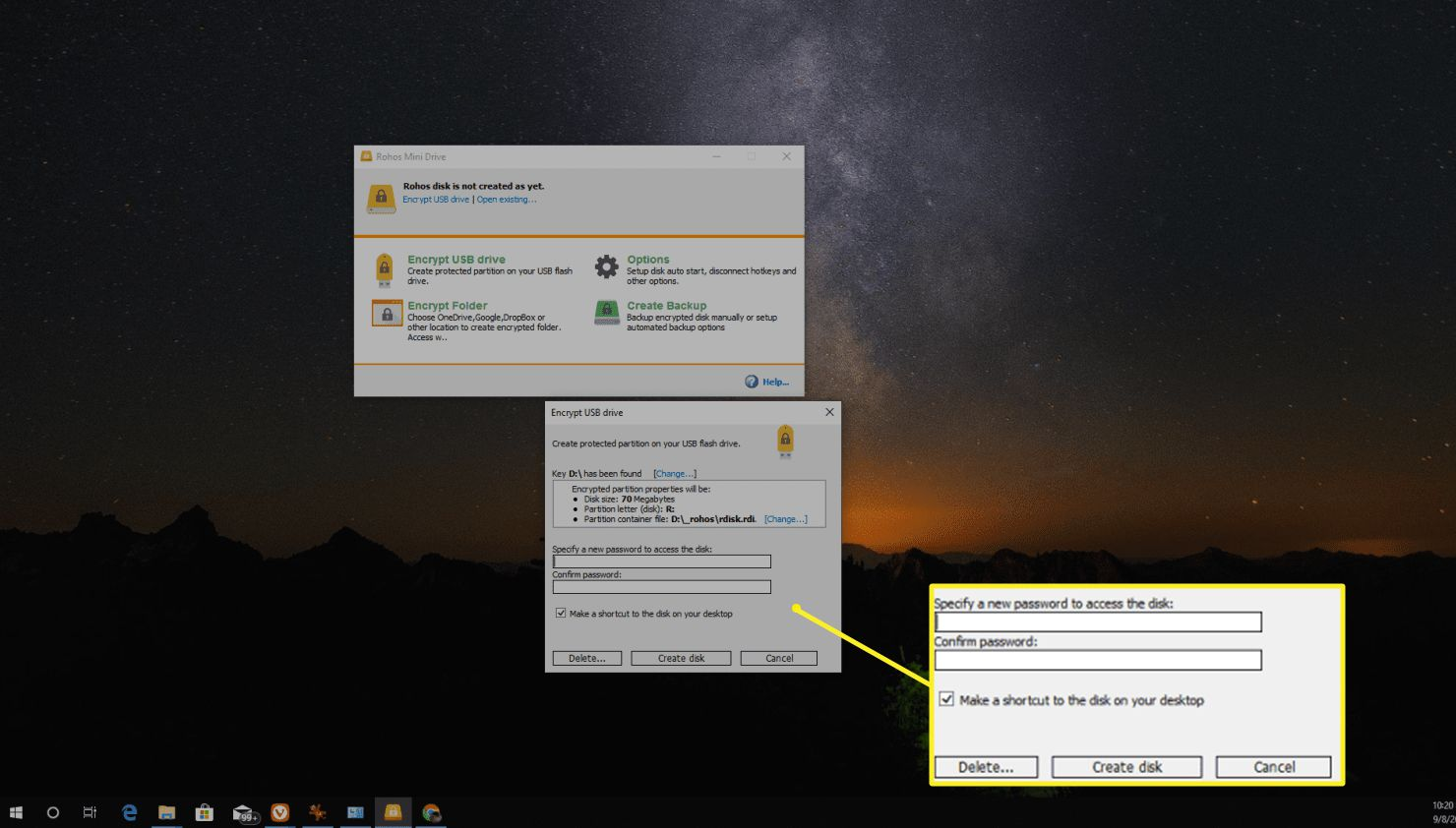 Set the password you want to use to encrypt your drive and select Create disk