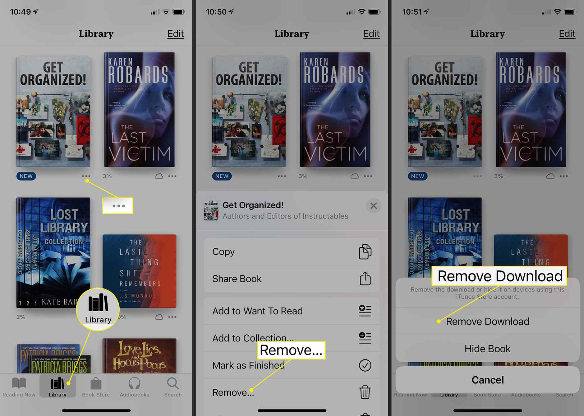iOS Books app on iPhone showing how to remove a downloaded book