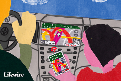 Illustration of a car dashboard with Android auto on the screen