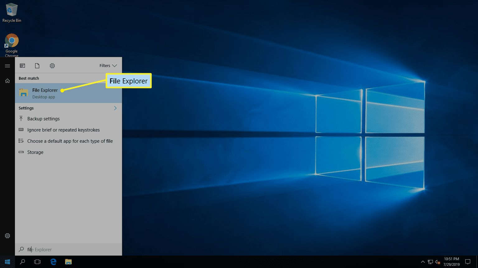 File Explorer from the Start Menu in Windows