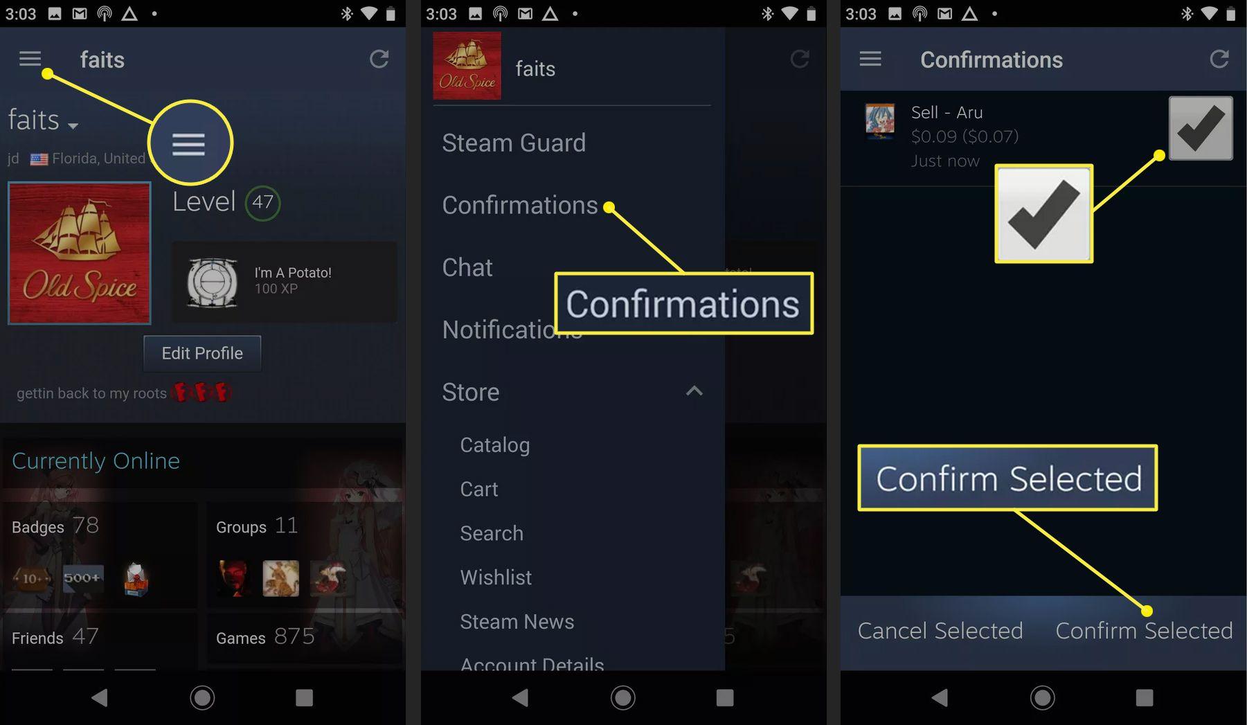 Steam Guard app approval screens