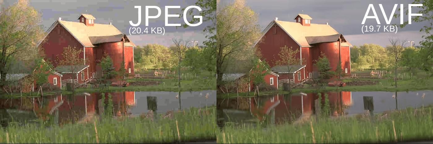 JPEG and AVIF image quality comparison
