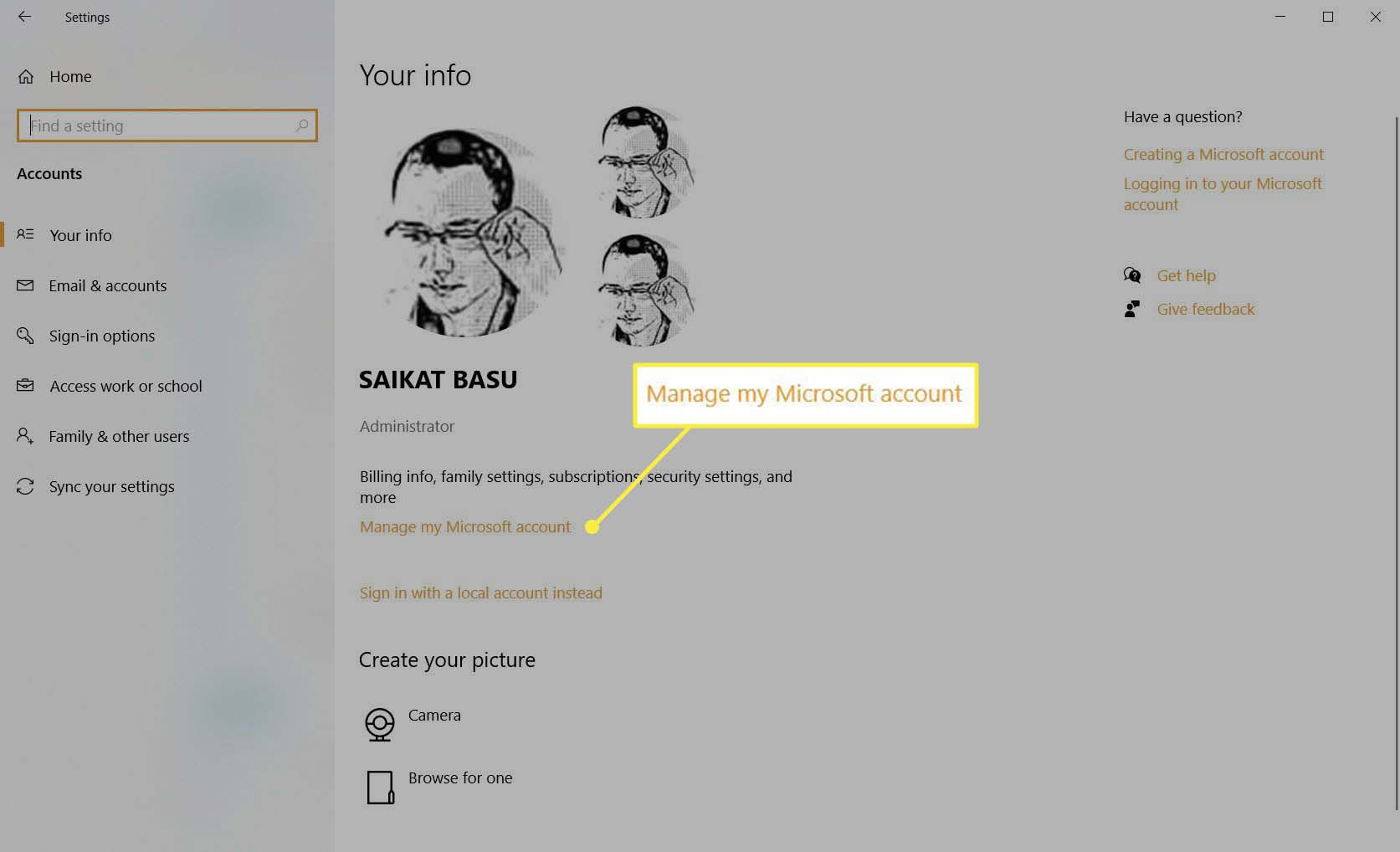 Your info screen in Windows Settings.