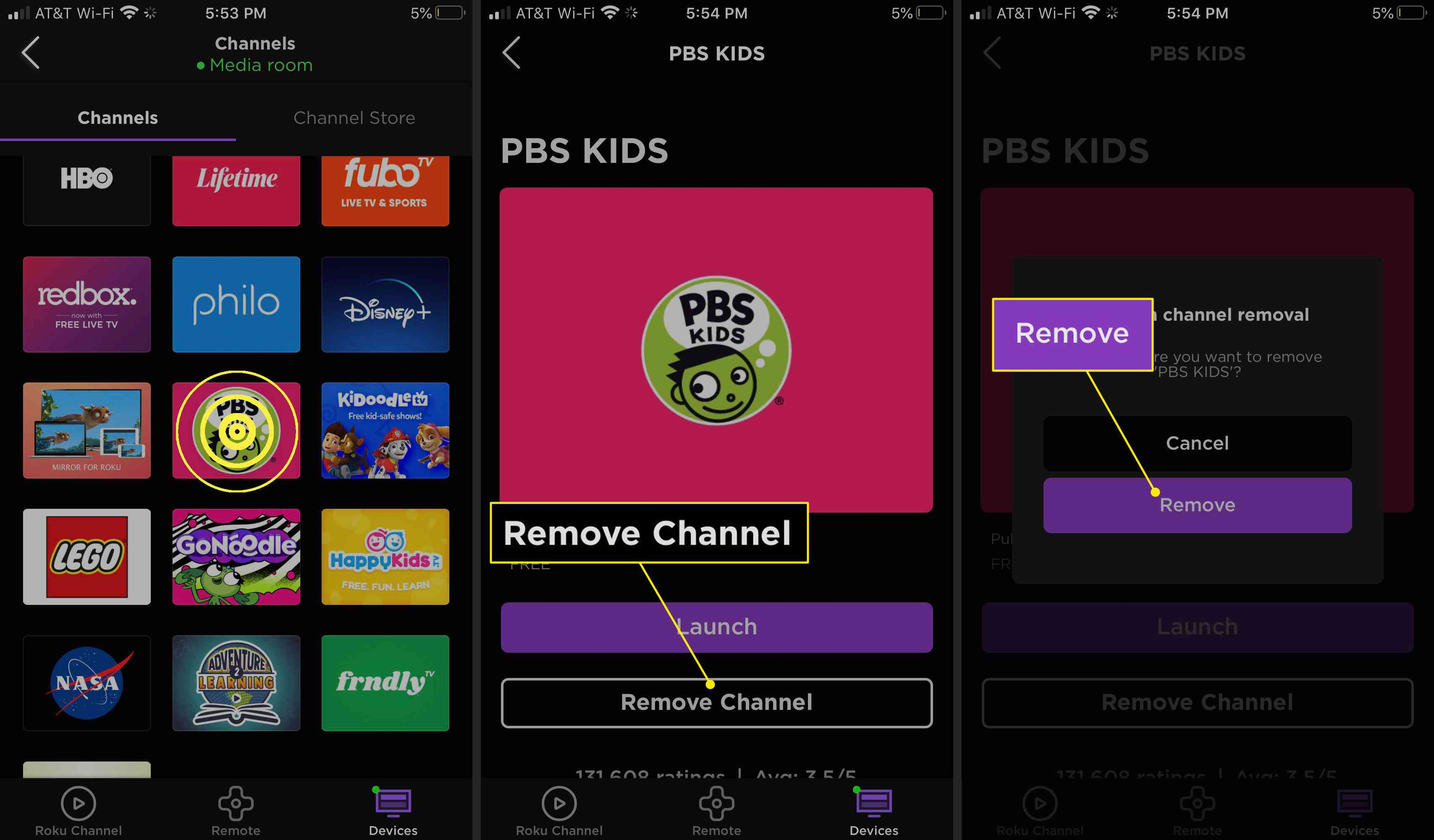 Removing a channel from the Roku app