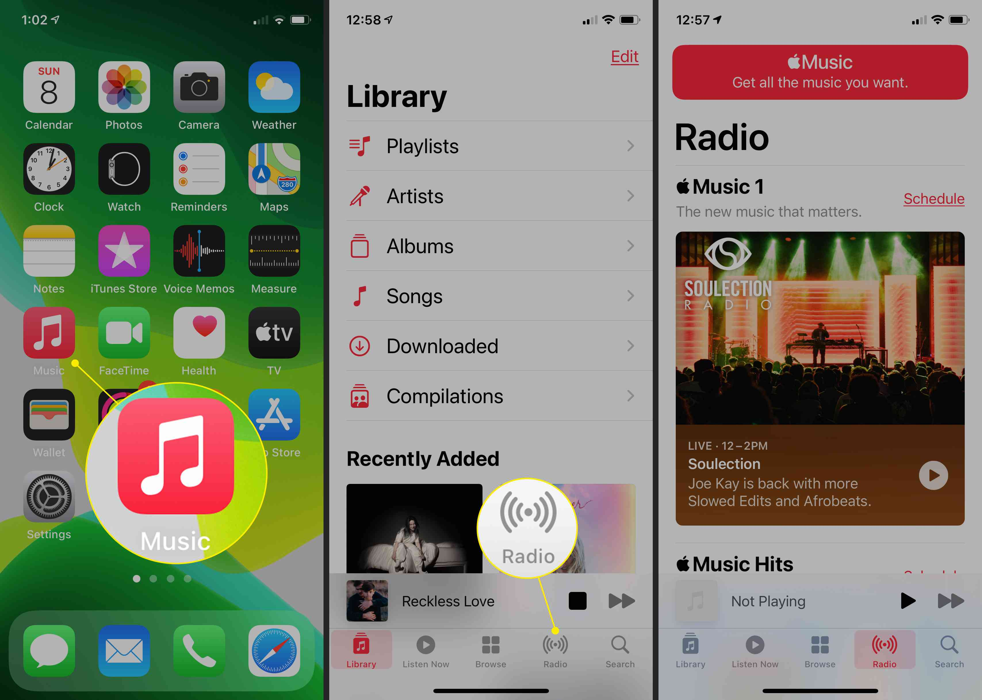 The Music app in iOS with Radio highlighted