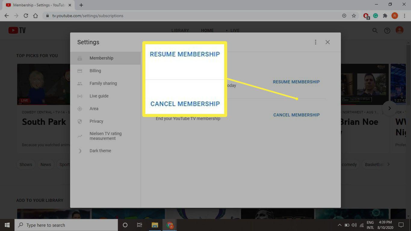 A screenshot of the buttons to click regarding resuming or cancelling your membership on tv.youtube.com.