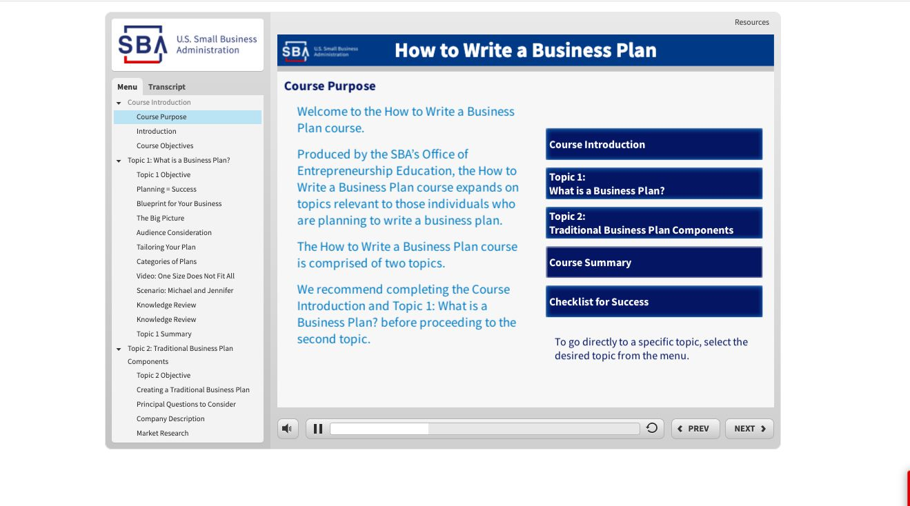 How to Write a Business plan course listing and description from the SBA Learning Center