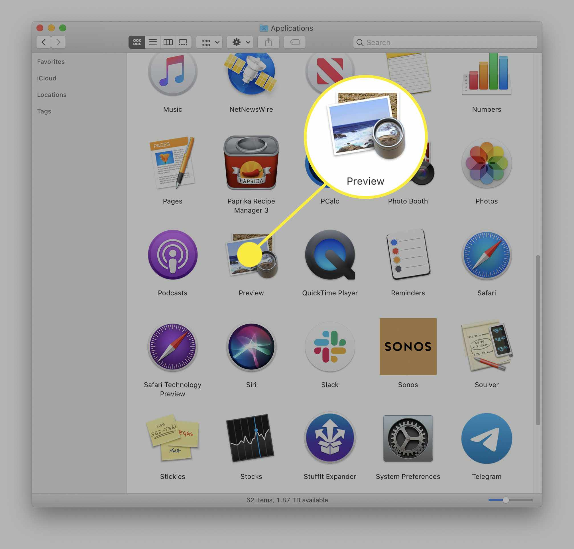 The Preview app in the Applications folder on a Mac.