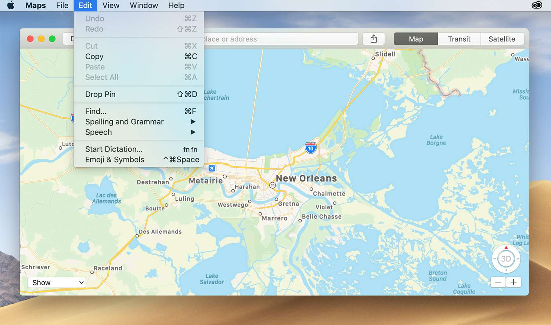 Dropping a pin from the Map menu bar
