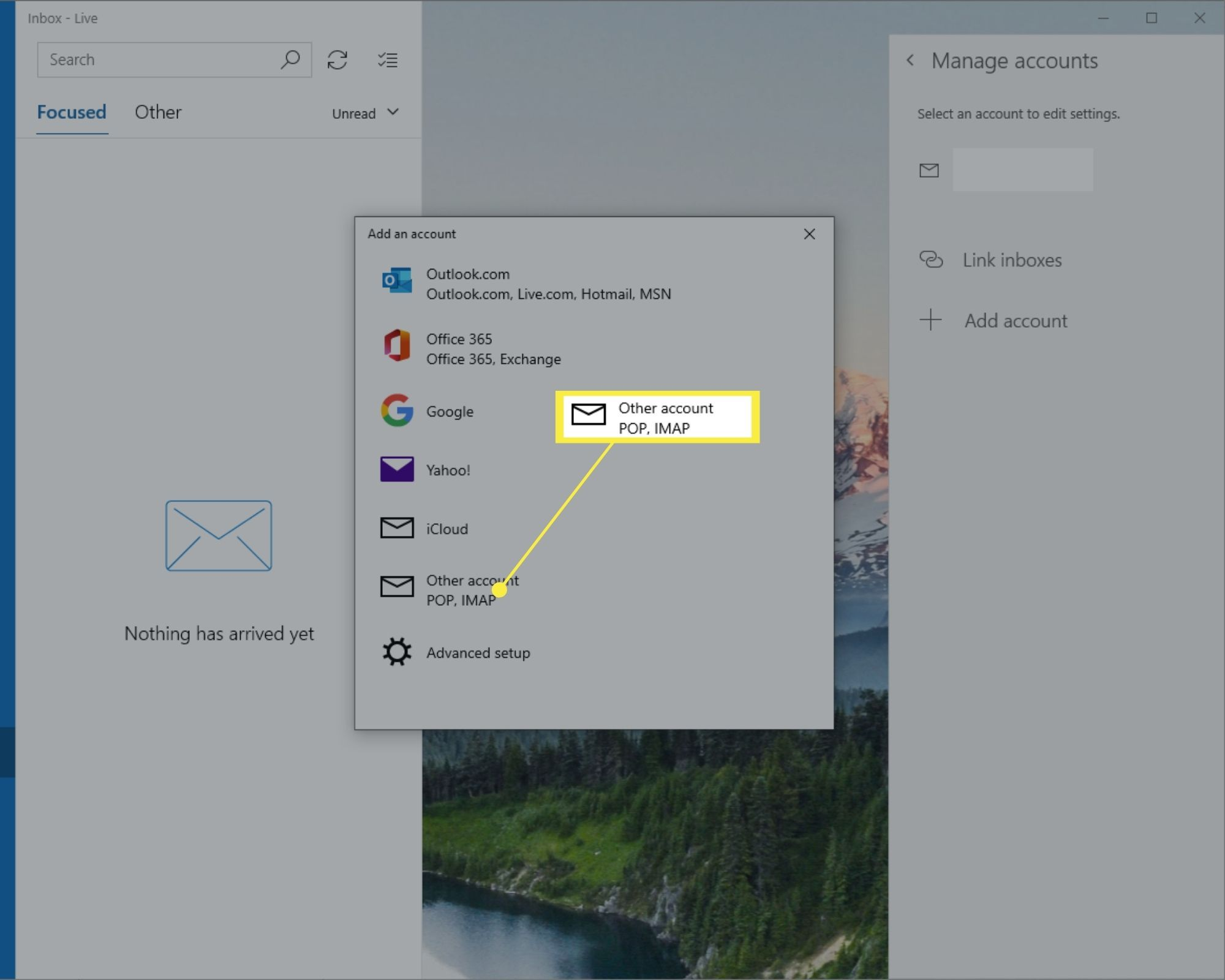 Other account option in Add an account window of Windows 10 Mail.