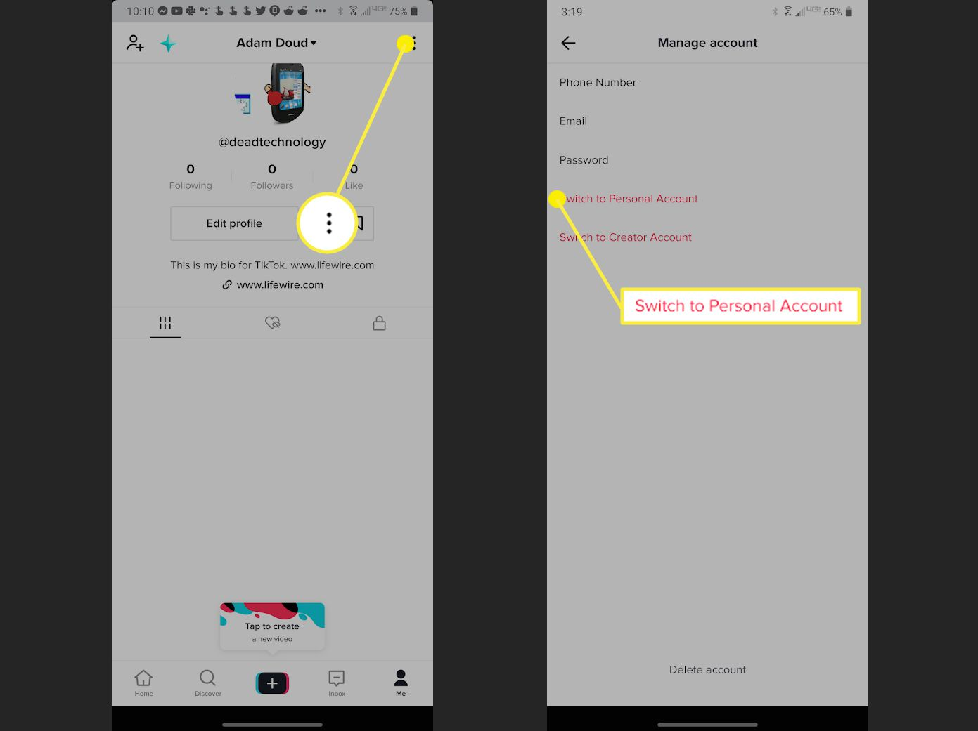 How to switch back to a personal account on TikTok.