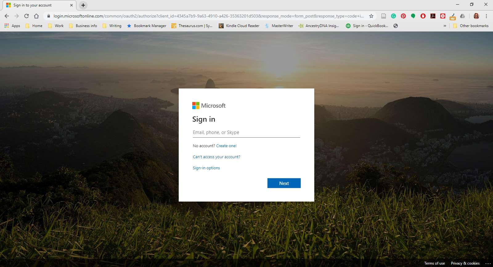 Microsoft Office login website.