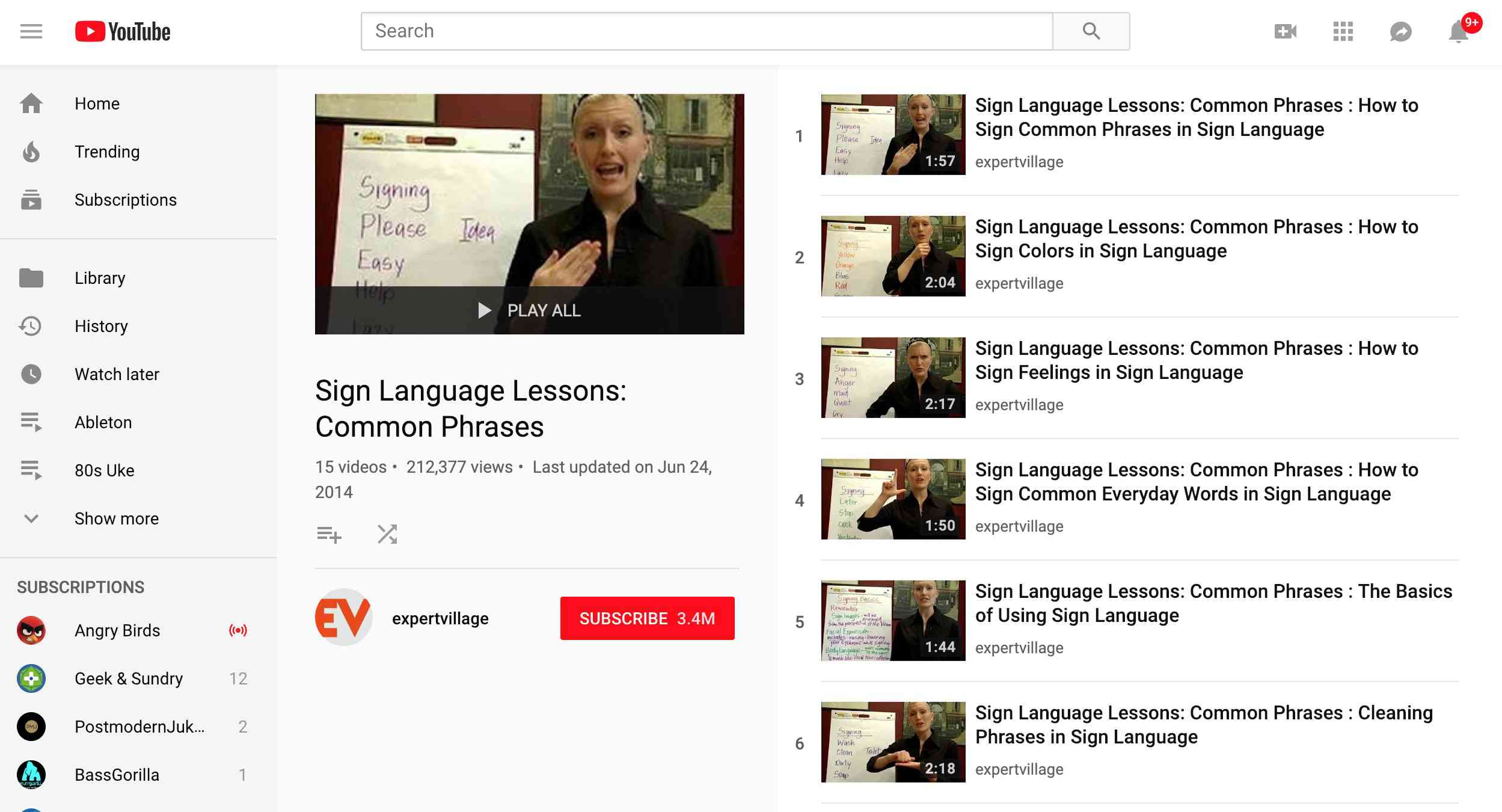 Expert Village Sign Language lessons on YouTube