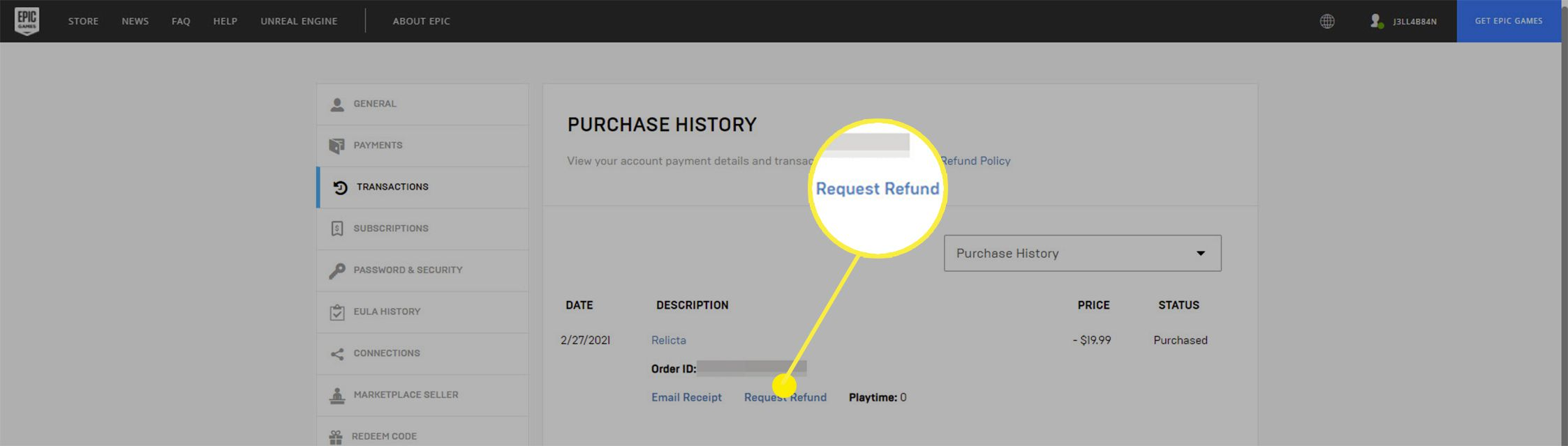 The Request Refund option on Epic Games.