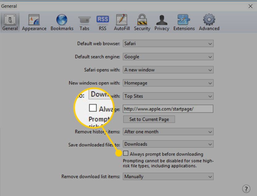 General settings for Safari in Windows with the Always prompt before downloading box highlighted