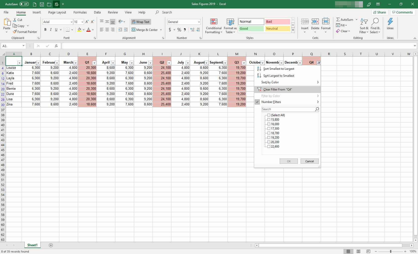 MS Excel with filter dialog box displayed