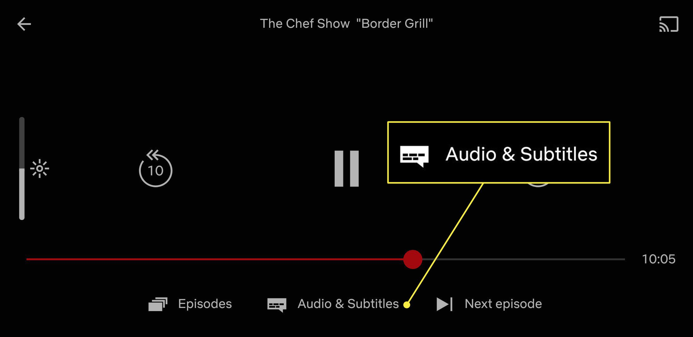 A screenshot of Netflix running on a mobile device with the Audio & Subtitles heading highlighted