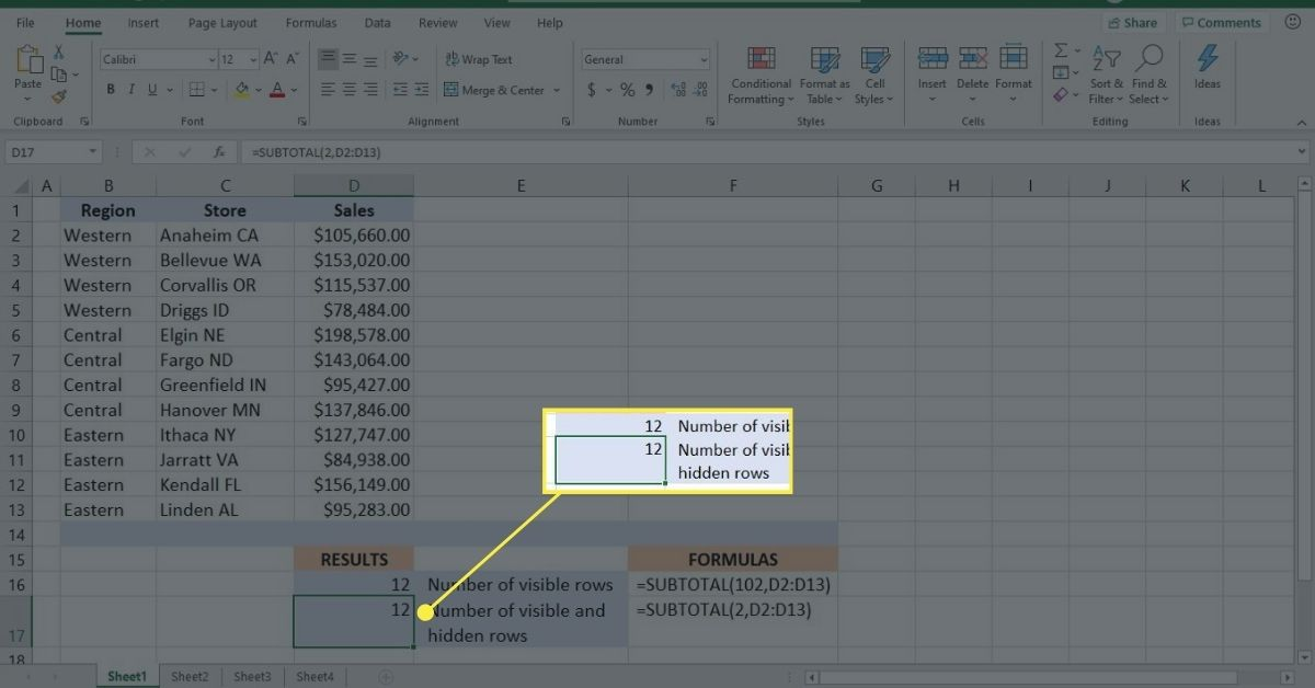 Use the SUBTOTAL function to count visible and hidden rows