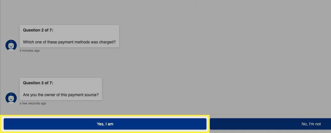 Confirming payment source ownership with PlayStation support bot.