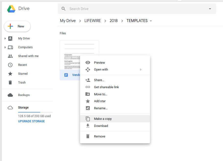 Making a copy of a Google Drive document