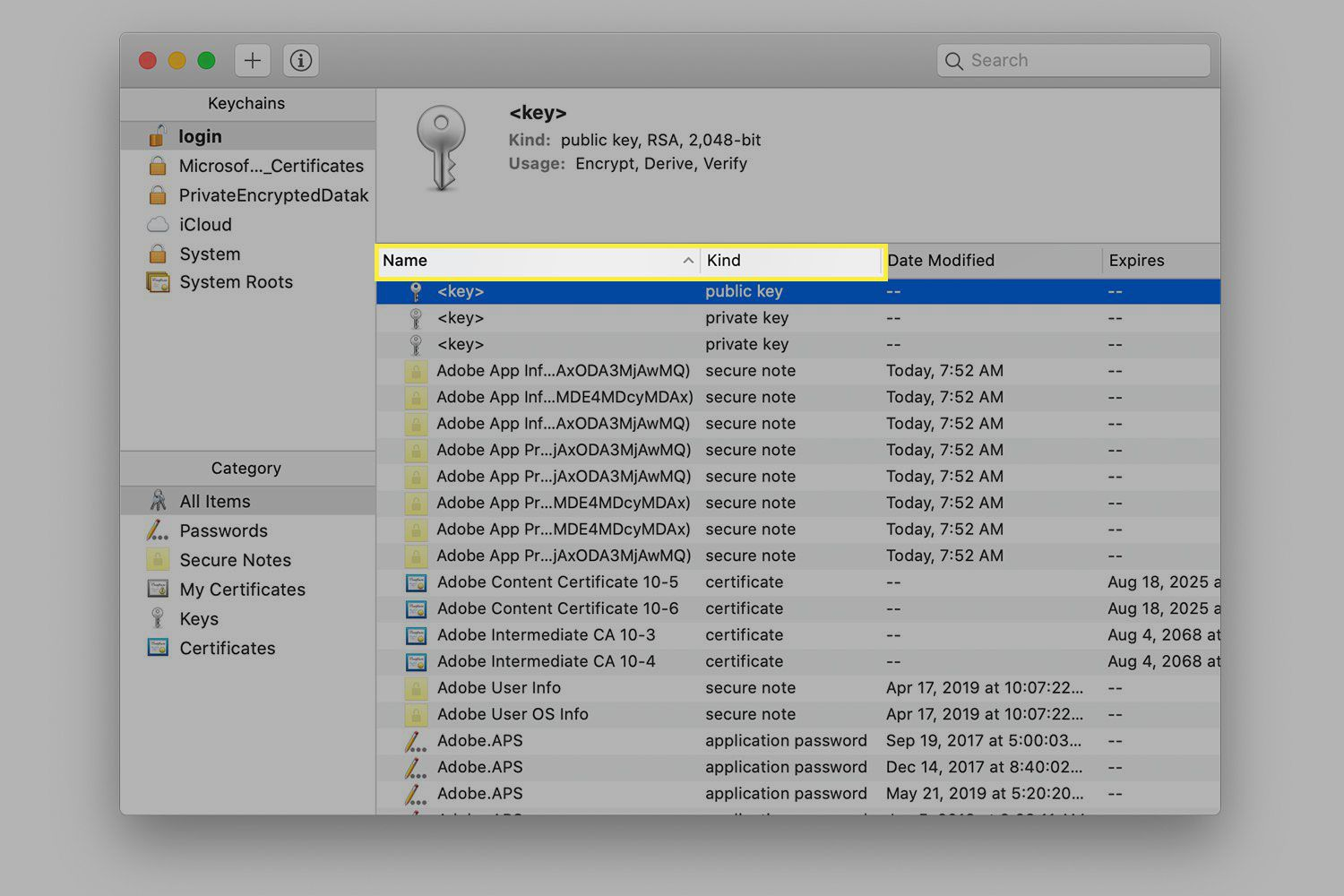 A screenshot of Keychain Manager with the Name and Kind columns highlighted