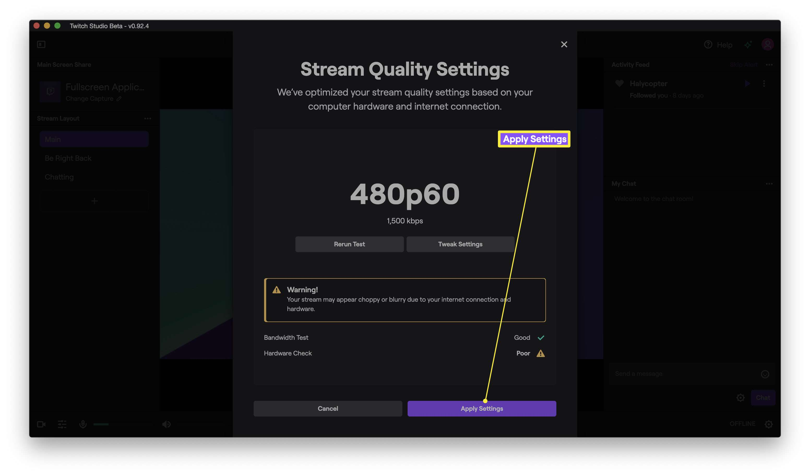Twitch Studio with Stream Quality Settings completion message displaying