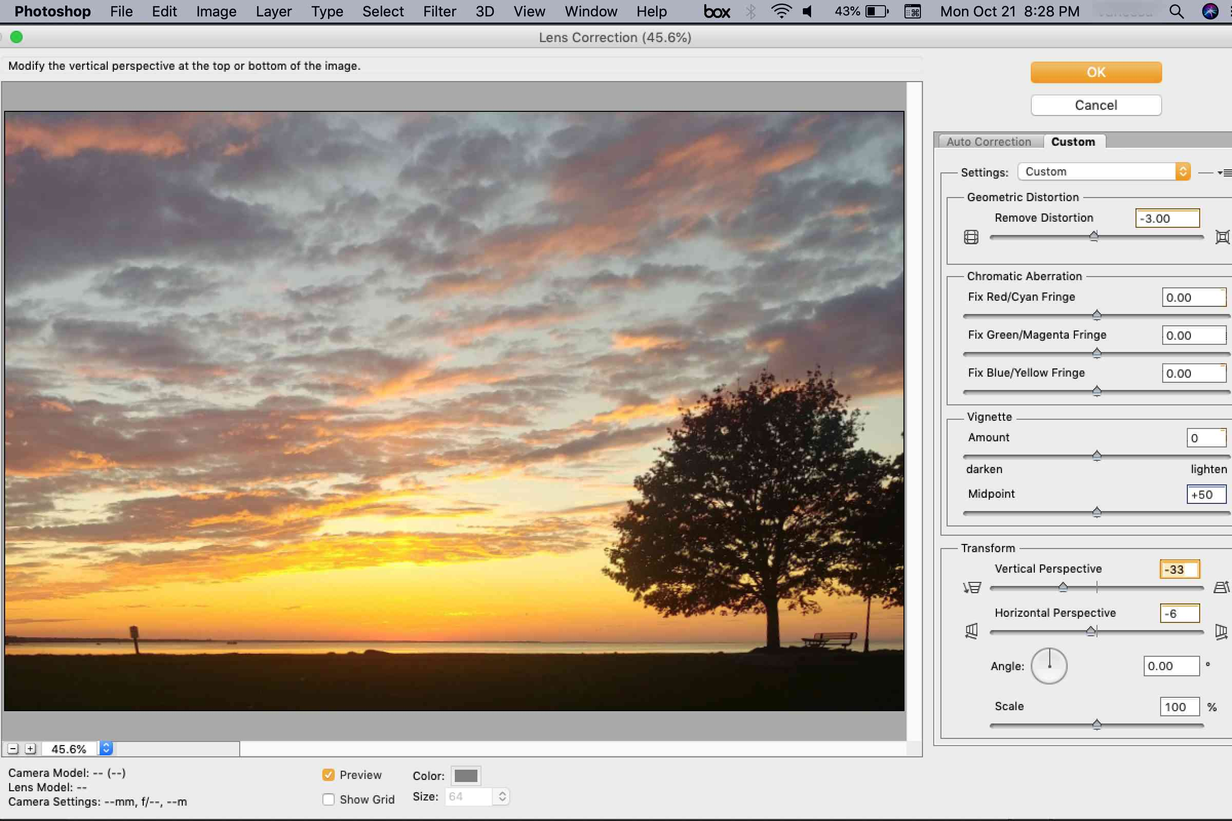 Correcting vertical perspective in Photoshop