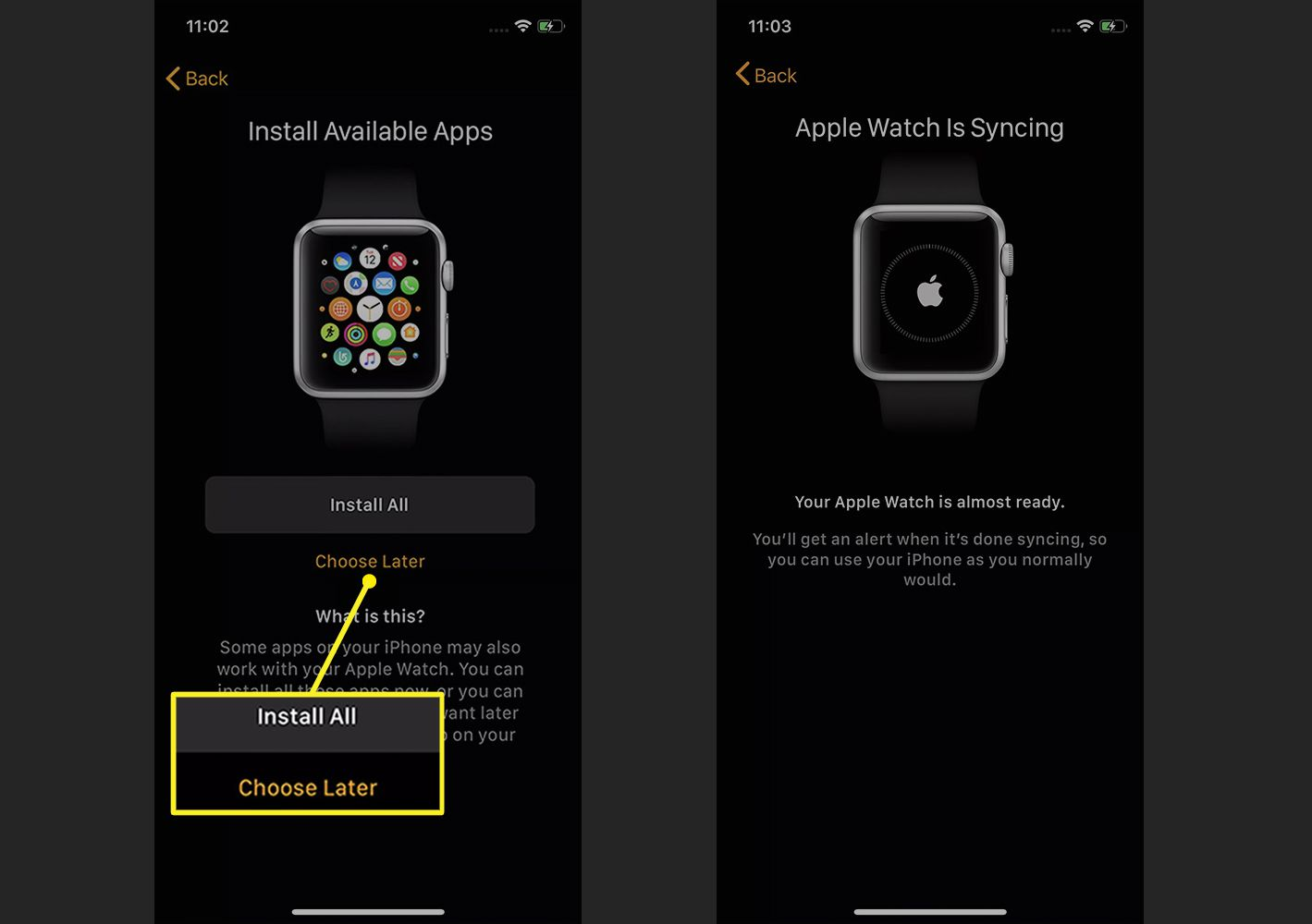 Apple Watch app showing app installation during initial setup