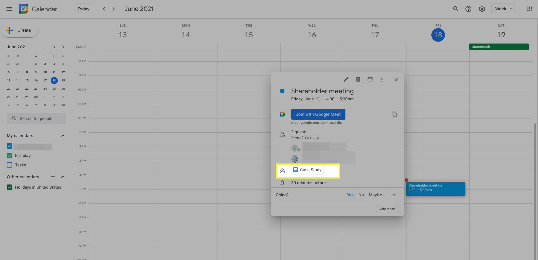 Google Calendar event with a file attached highlighted