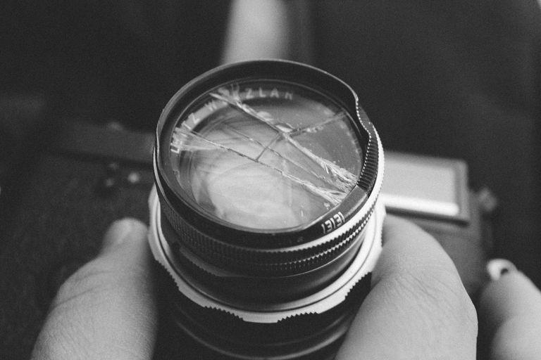 A broken camera lens