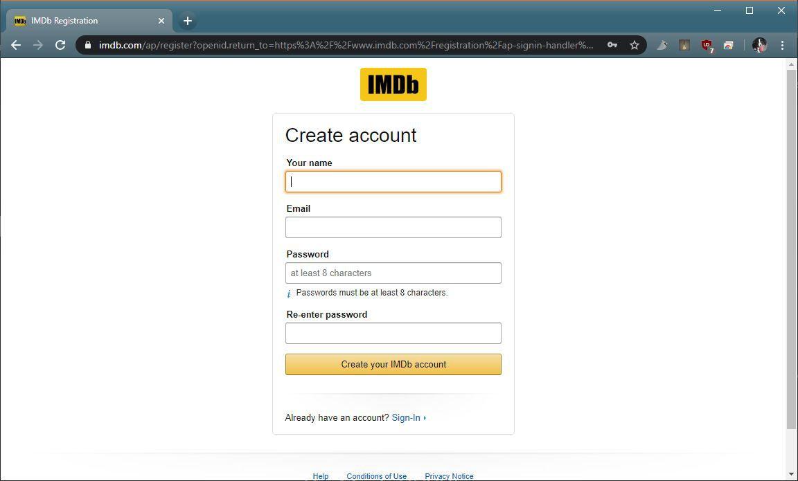 A screenshot of the IMDB account creation page.