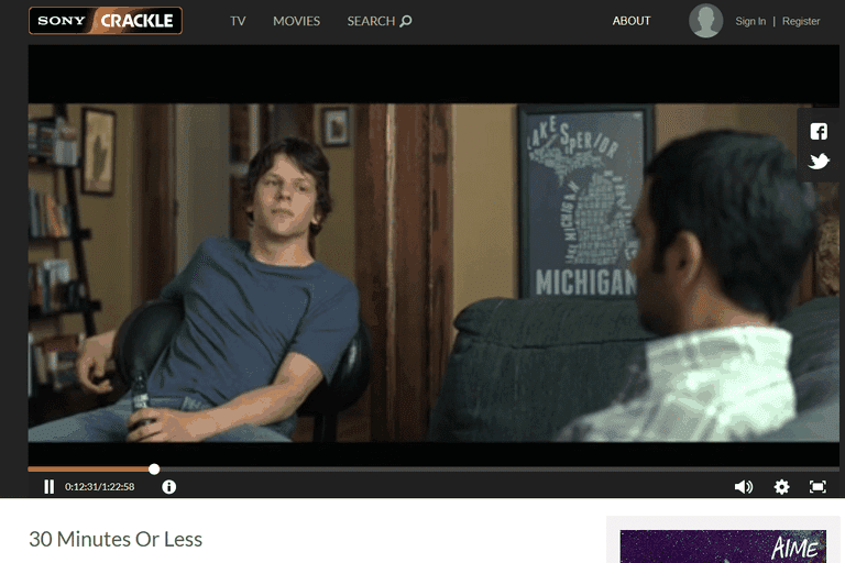 Screenshot of a Sony Crackle free movie